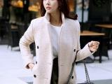 韩国东大门代购 2014冬季韩版显瘦中长款毛呢大衣女外套 女装外