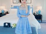 2015夏季新款女装韩版甜美蕾丝连衣裙 半袖绣花收腰修身连身中裙