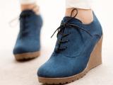 春款新款平底休闲单鞋女鞋子厚底松糕鞋高跟鞋系带坡跟鞋及踝裸鞋