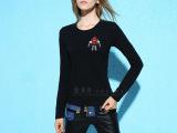欧洲站卡通公仔女t恤 潮流大牌高贵红宝石镶钻打底衫秋季新款t恤