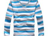 热销男装 秋款男式t恤 条纹V领t恤 纯棉中老年男士长袖 一手货