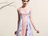 思朵连衣裙夏2015新款修身显瘦甜美连衣裙欧美高端印花短裙a字裙