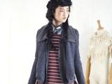 春装新款 大翻领毛呢大衣外套时尚夹扣设计