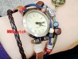 韩版时尚手工编织拉绳腕带牛皮带学生复古手表 铜钱挂坠手链女表