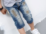 夏款韩版男童牛仔裤 批发 儿童韩国童裤童装 五七分中裤 一件代发