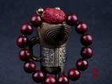 【**】小叶紫檀貔貅佛珠手串 1.2cm同料顺纹貔貅 佛珠手链