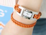 皮革编织绳手链式手表超长表带女表 时尚复古手链表 E001