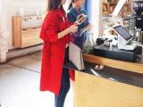 15秋季新款 韩国原单女装 红色女士风衣 名媛气质长款大衣 欧洲