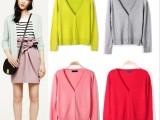 2015韩版新款女装修身显瘦针织衫女式开衫春秋大码厚外搭毛衣外套
