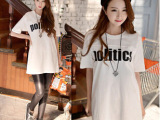 2014夏装新款韩版女装 大码宽松短袖字母t恤 中长款短袖打底衫
