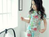 韩国童装2015夏季儿童短袖家居服套装纯棉睡衣一件代发