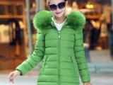 欧洲站女式棉衣2015新款韩版冬装中长款羽绒棉女款大毛领加厚棉衣