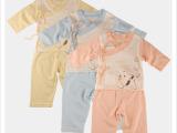 初生儿纯棉绑带衣服 宝宝长袖睡衣新生儿 婴儿内衣批发 厂家直销