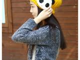 可爱韩版女士毛球拼色毛线护耳帽 可爱水钻熊猫头帽子 外贸原单