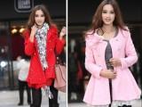 2015秋装女式新款韩版毛呢料外套时尚钉珠修身呢子女装风衣大衣