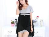 2014夏季新款韩版孕妇装时尚哺乳衣 短袖莫代尔外出喂奶连衣裙