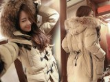 2014韩国新款貉子大毛领韩版中长款时尚羽绒服女加厚外套厂家直销
