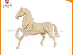 六一热销木制玩具3D拼图儿童益智广告活动礼品十二生肖--马