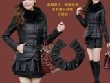棉衣 女士2013韩版 秋冬新款PU皮 中长款裙摆棉服 女外套