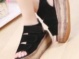 夏季麻绳松糕凉鞋女厚底平跟鱼嘴鞋休闲女式凉鞋2014新款罗马潮鞋