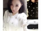 2014秋冬新款短款镶钻钉珠针织衫开衫毛衣外套