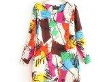 2014春新品 品牌明星同款水彩涂鸦女式气质灯笼型修身连衣裙 大
