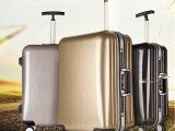 爆款PC行李箱单拉杆旅行箱万向轮拉杆箱 铝框 海关锁