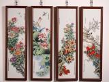 四季花卉粉彩四条屏 制作难度工艺极其的复杂