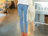 2015新款韩国女装紧身小脚裤女牛仔裤韩版显瘦长裤弹力铅笔裤蓝色