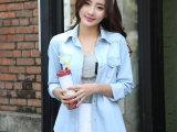 2014春装新款女装怀旧水洗欧美长袖牛仔衬衫
