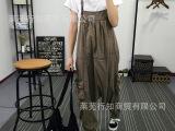 韩版时尚新款大码女装长裤牛仔裤 口袋蝴蝶结宽松纯棉背带七分裤