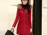 2014新款女装羽绒服 时尚韩版修身羽绒棉衣 中长款女式羽绒服批