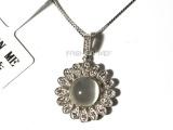 风靡珠宝纯银月光石项链 天然宝石镶嵌可提供珠宝证书 五证一书