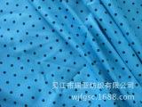 【瑞亚纺织】供应罗缎印花服装面料--蓝底黑点印花