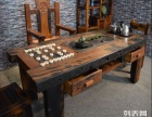 商丘市老船木茶桌椅子仿古茶台实木沙发茶几餐桌办公桌家具博古架