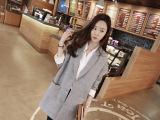 2014秋款韩国东大门棉麻西装外套女宽松中长款小西装