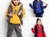 童装秋冬装女童中大童连帽童套装2014儿童卫衣三件套加厚一件代发