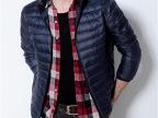 2014冬季时尚男式羽绒服 厂家直销纯色立领休闲轻薄男式保暖外套