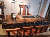 老船木家具天然海螺孔龍骨茶桌椅組合實木客廳原生態茶臺茶幾特價