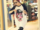 2014春夏新款 韩版女装中长款眼镜虎头宽松大码短袖T恤女