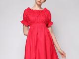 2014夏季新款欧美时尚性感气质修身高腰泡泡中袖一字领连衣裙