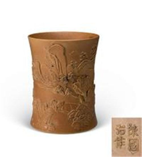瀚海拍卖陈国治款瓷雕笔筒流程