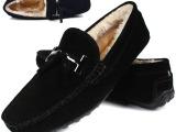 外贸原单棉鞋潮流豆豆保暖鞋真皮打造舒适套脚大码鞋男46码冬季