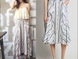2015新品小辣椒同款套装亚麻条纹半身裙飘逸单排系扣半身长裙