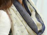 秋冬新款女士韩版海军风船锚棉麻加长女士大披肩围巾