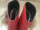 冬季加厚红色浅口女靴37码