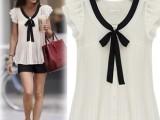 2014新款欧美飞飞袖女雪纺衫女 纯色系带短袖雪纺上衣女装批发