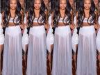 2014新女明星长裙,白色的夏季两件雪纺泳装礼服长礼服YQ018