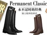 真皮鞋子/女靴/欧美爱马S大S同款牛皮高筒粗跟低跟靴子 90208