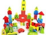 彩色印花城堡积木盒装交通积木 木质堆积木儿童益智玩具